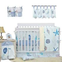Brandream Baby Boys Crib Bedding Sets with Bumper Pads Starfish Seashell Nursery Fish Bedding 100% Cotton, Beach Theme Hot Baby Gifts for Toddlers/Infant