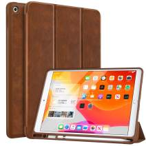 """MoKo Case Fit 2019 New iPad 10.2"""" with Apple Pencil Holder, Slim Lightweight Smart Shell Stand Cover Case Fit iPad 7th Gen 2019, Auto Wake/Sleep - Brown"""