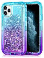 JAKPAK Case for iPhone 11 Pro Max Case for Girls Women Glitter Sparkle Case Heavy Duty Shockproof Protective Shell Dual Layer PC Bumper TPU Back Case for iPhone 11 Pro Max 6.5 inches Teal Purple