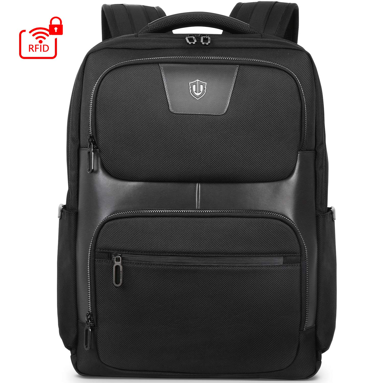 SHIELDON Travel Laptop Backpack, 23L Business Backpack with RFID Blocking Pocket Durable 15.6 Inch Laptop Backpack, Water Resistant Multipurpose College School Computer Bag for Men & Women - Black
