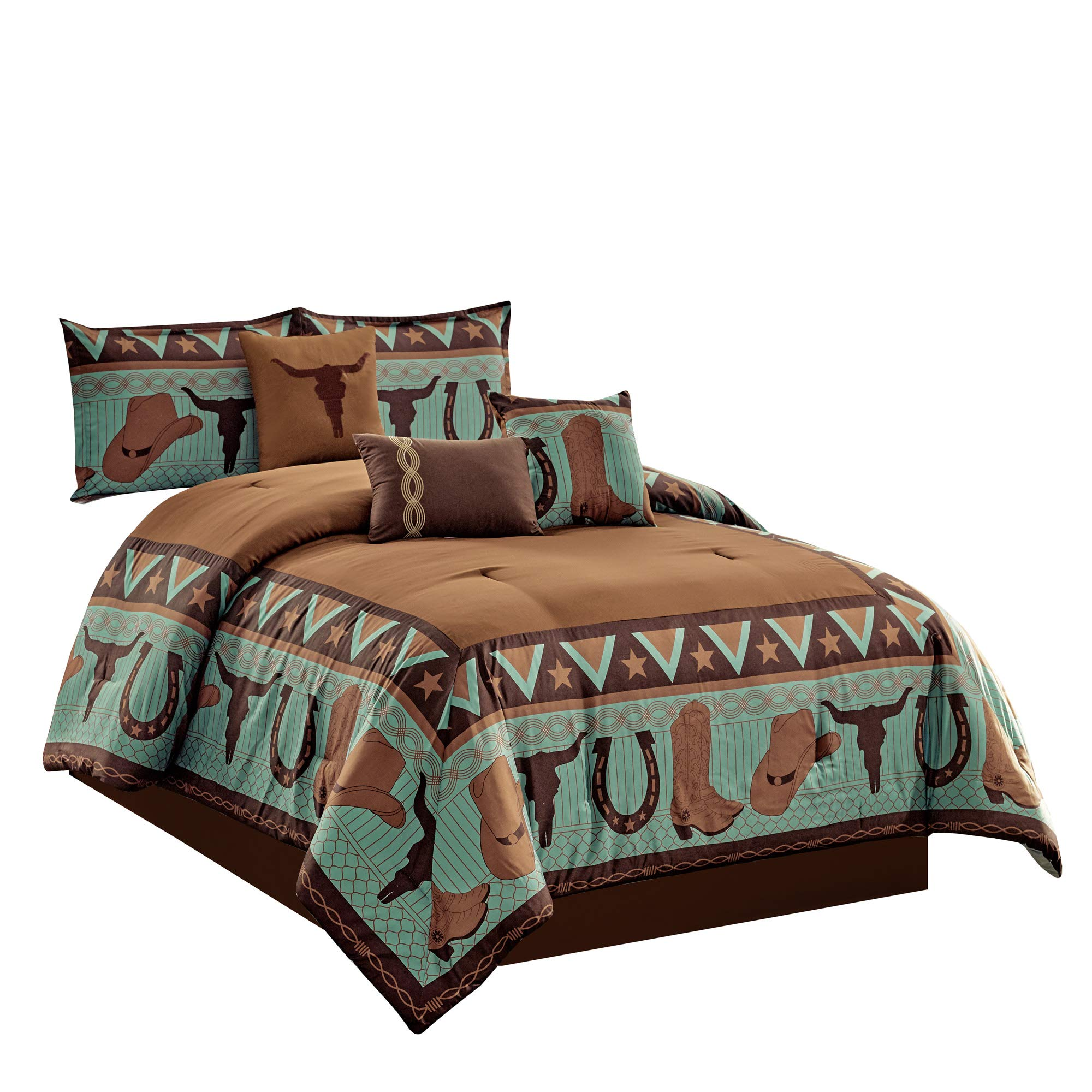 Wpm World Products Mart 7 Piece Cabin Lodge Comforter Set Brown Teal Horseshoe Horse Barb Wired Cow Boy Hat Boot Print Southwestern Cowboy King Size Bedding Western King