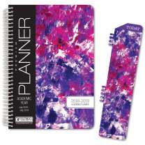 "HARDCOVER Academic Year Planner 2018-2019 - 5.5""x8"" Daily Planner/Weekly Planner/Monthly Planner/Yearly Agenda. Bonus Bookmark (Purple Art)"