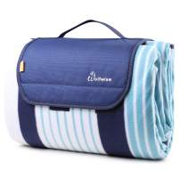 """WolfWise Picnic Blanket Mat Waterproof Extra Large,Outdoor Blanket with Waterproof Backing for Family, Concerts, Beach, Park,Great for Camping on Grass and Portable 79""""x79"""" XXL,Blue Stripes"""