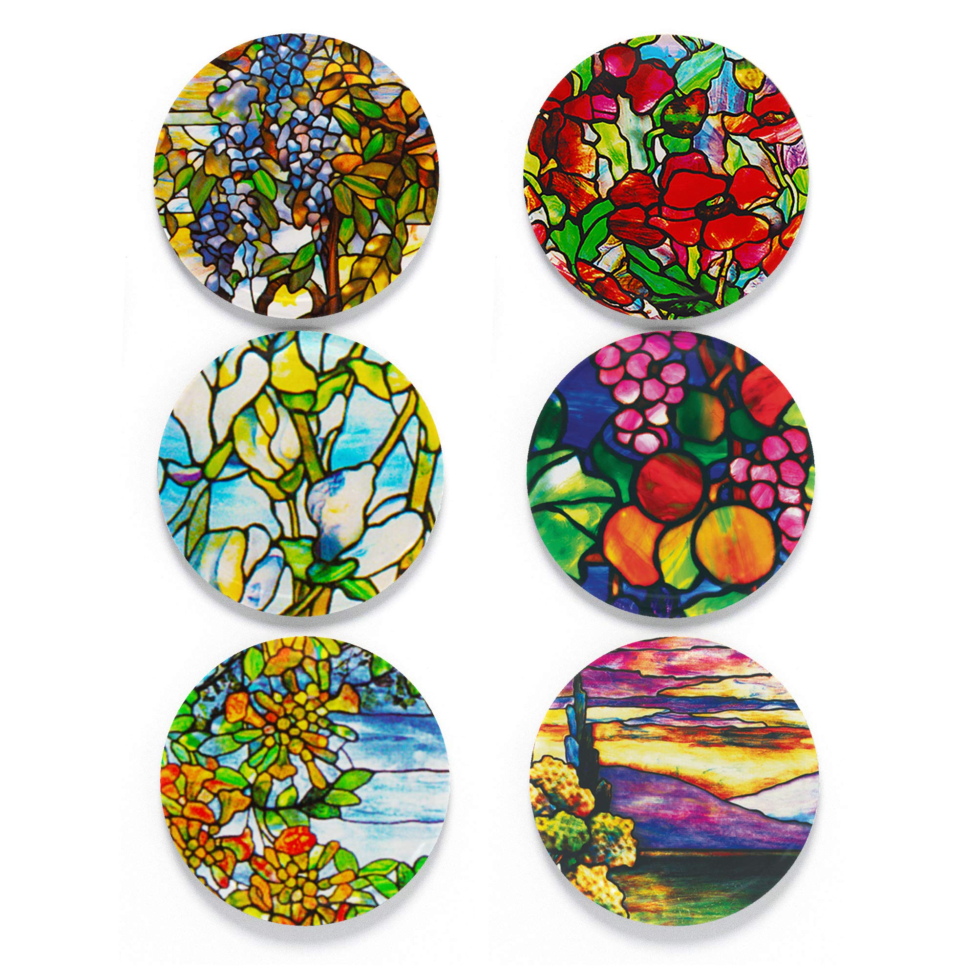 """Tolt Supply Tiffany Magnet Set - Set of 6 1.25"""" Magnets in Decorative Tin - Made in the USA"""