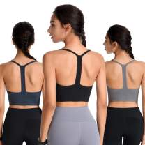 Evercute Cross Back Sport Bras Padded Strappy Criss Cross Cropped Bras for Yoga Workout Fitness
