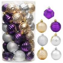 "CHICHIC 41ct 2.36"" Christmas Ornaments for Christmas Tree Decorations Christmas Tree Ornament Sets Shatterproof Christmas Balls Bulb Ball Ornaments Christmas Party Decorations 2020, Purple Gold Silver"
