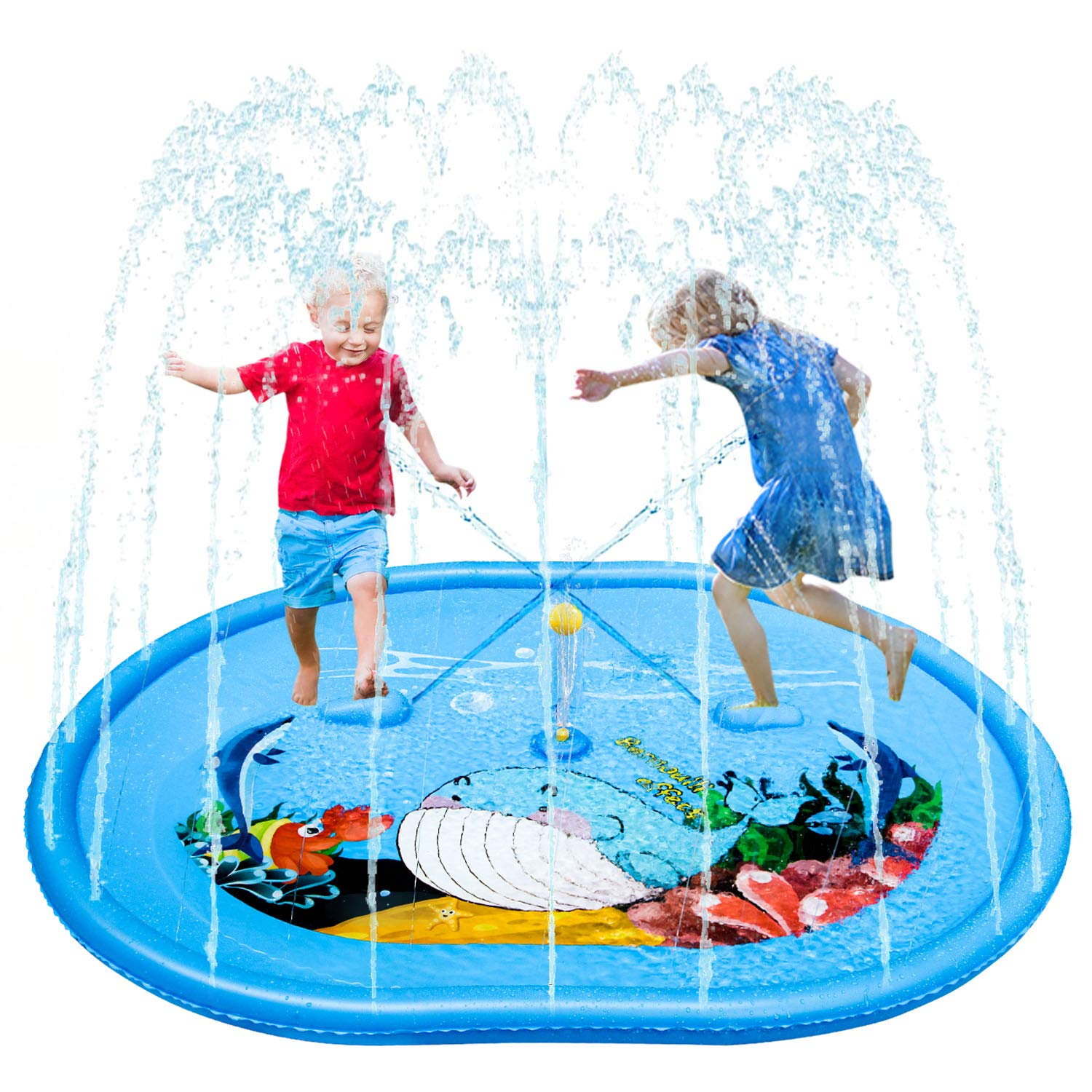 JOYTEK Splash Pad for Kids and Adults, Sprinkler Play Mat with Foot-Operated Water Squinter and Floating Ball, Summer Outdoor Water Spray Mat Toys &Wadding Pool with Adjustable Water Volume