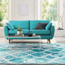 """Decomall Geometric Trellis Runner Rug Soft Plush Watercolor Tonal Turquoise Runners for Hallway Kitchen, Turquoise, 2'6"""" x 9'"""