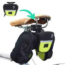 Vincita STASH Pack Alien Expander Quick Release Bike Saddle Bag Big Zippered Opening Two Expandable Side and Internal Mesh Pocket Safety Reflective Strip with LED Strap Cycling Seat Bag Portable