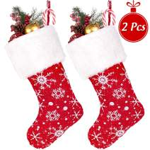 Whaline 18'' Red Snowflake Christmas Stockings, Glitter Xmas Hanging Stocking with Fur Trim for Gift Holder Mantel Decoration Party Xmas Holiday Ornament (Pack of 2)