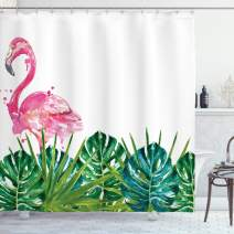 """Ambesonne Tropical Shower Curtain, Exotic Nature Botanical Artwork with Leaves and Flamingo Watercolors Artwork, Cloth Fabric Bathroom Decor Set with Hooks, 70"""" Long, Green Pink"""