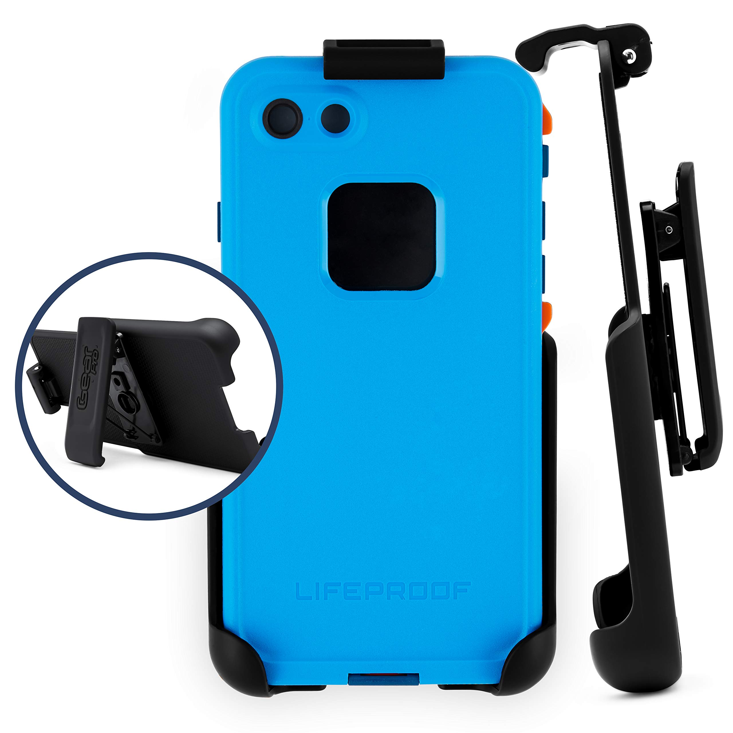 Belt Clip Holster Compatible with LifeProof FRE Series - iPhone 6, 6s, 7, 8   Easy Fit   Slim Design   Built in Kickstand [case not Included]