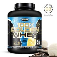 Maxler 100% Golden Whey Protein - 25g of Premium Whey Protein Powder per Serving - Pre, Post & Intra Workout - Fast-Absorbing Whey Hydrolysate, Isolate & Concentrate Blend - Vanilla Ice Cream 5 lbs