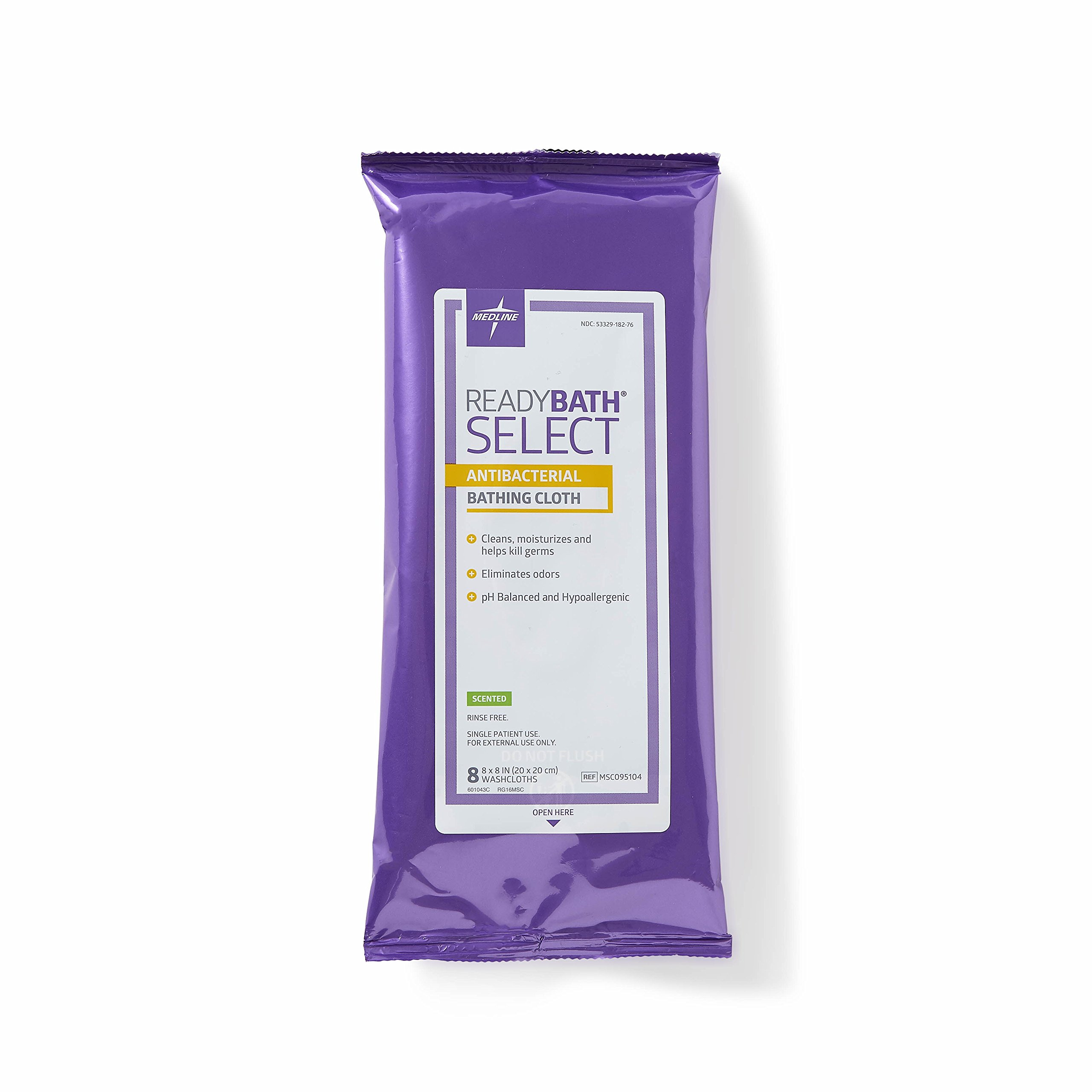 Medline ReadyBath Select Antibacterial Body Cleansing Cloth Wipes, Scented, Medium Weight Wipes (8 Count Pack, 30 Packs)