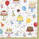 Entertaining with Caspari Cocktail Napkin, Multicolor, Birthday Cakes, Box of 40