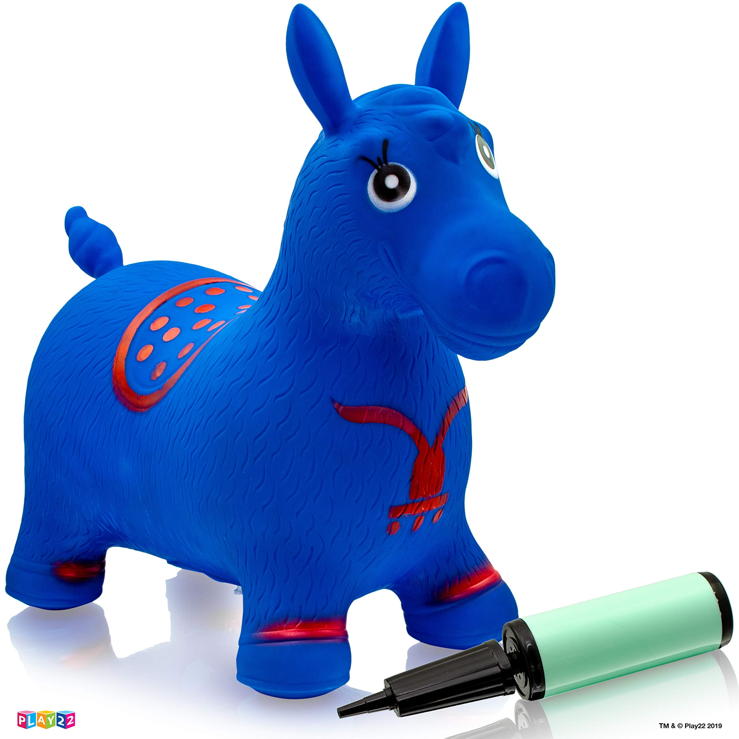 Play22 Horse Hopper Blue - Inflatable Horse Bouncer Free Pump Included - Bouncy Horse Toys for Kids & Toddler Riding Horse Toy Great for Indoor and Outdoor Toys Play - Best Gift for Boys and Girls