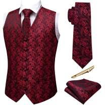 Barry.Wang Formal Men Dress Vest Matched Paisley Tie Set Suit Waistcoat Wedding 5PCS