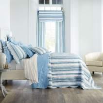 BrylaneHome Florence Oversized Bedspread - Full, Blue Stripe