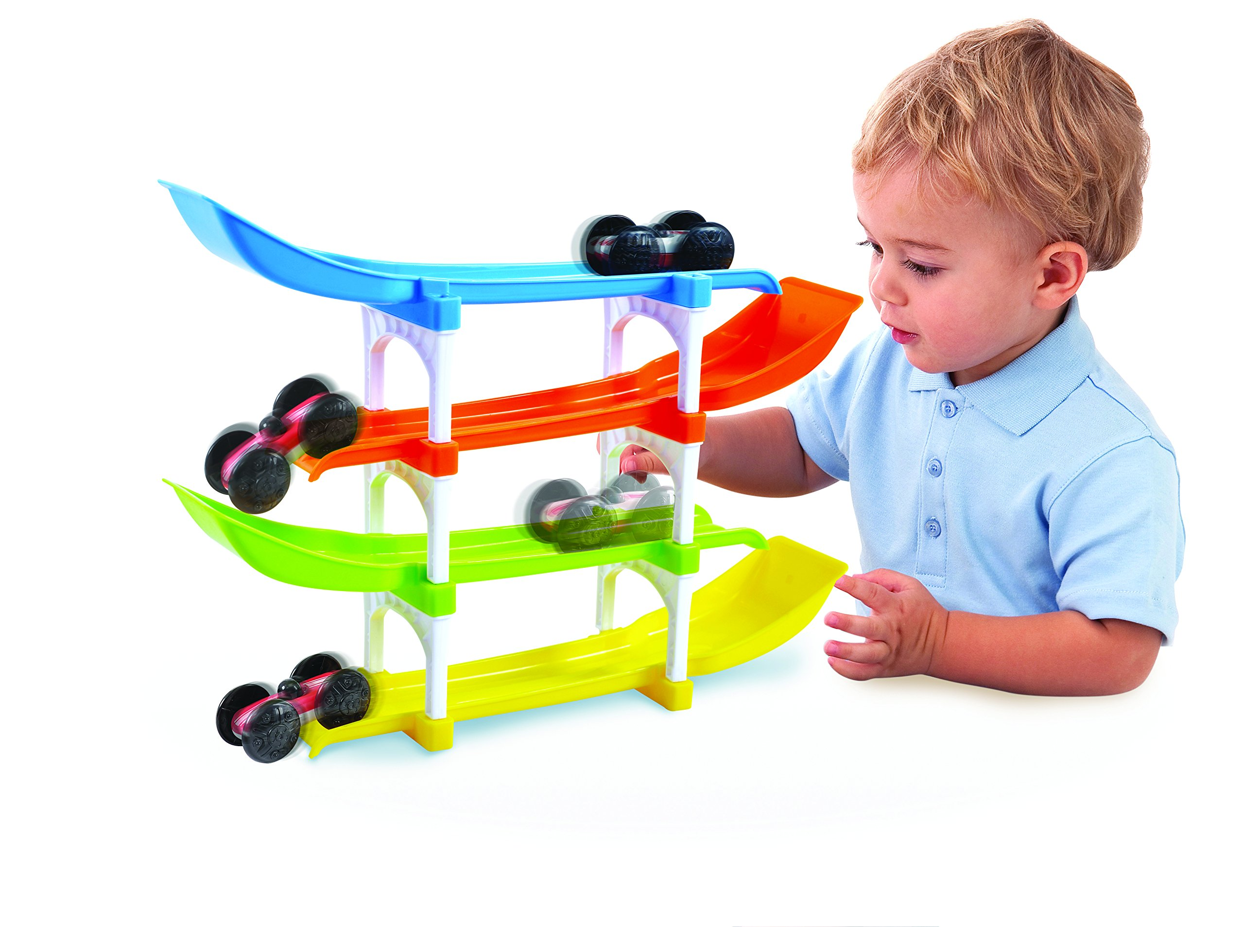 KidSource Flip and Go Racer - 4 Level Race Track and Ramp Car Toy for Toddlers Ages 2 Years Old and Up