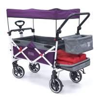 Creative Outdoor Push Pull Collapsible Folding Wagon Stroller Cart for Kids | Titanium Series | Beach Park Garden & Tailgate (Purple)