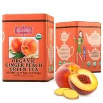 Brew La La Organic Green Tea - Natural Ginger Peach Flavor - 50 Tea Bag Tin - Low Caffeine Gourmet Tea - Certified Organic