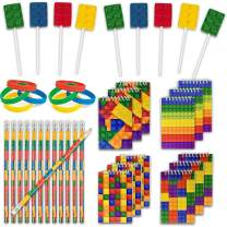 48 Building Blocks Favors - 12 Lollipop Suckers in 4 Flavors + 12 Bracelets + 12 Mini Notepads + 12 Pencils, Brick Birthday Party Supplies and Prizes