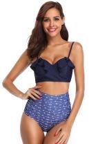SHEKINI Women's Vintage Ruffle High Waisted Bottom Bikinis Push Up Swimwear Suit