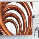 """Ambesonne Abstract Shower Curtain, Helix Coil Curved Spiral Pipe Swirled Shape on White Backdrop Print, Cloth Fabric Bathroom Decor Set with Hooks, 75"""" Long, Dark Orange"""