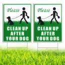 """HISVISION Please Clean Up After Your Dog 2 Pack, 12"""" x 9"""" Yard Sign with Metal Wire H-Stakes Included, No Pooping Dog Lawn Signs Double Sided"""
