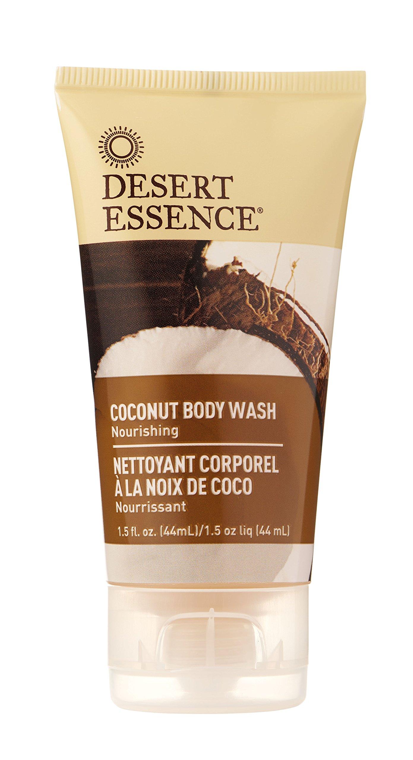 Desert Essence Coconut Body Wash - 1.5 Fl Oz - Nourishing - Jojoba Oil - Sugar Maple - Shea Butter - Revitalizes Skin - Intense Hydration - Vegan - Gluten Free - Cruelty Free - Paraben Free
