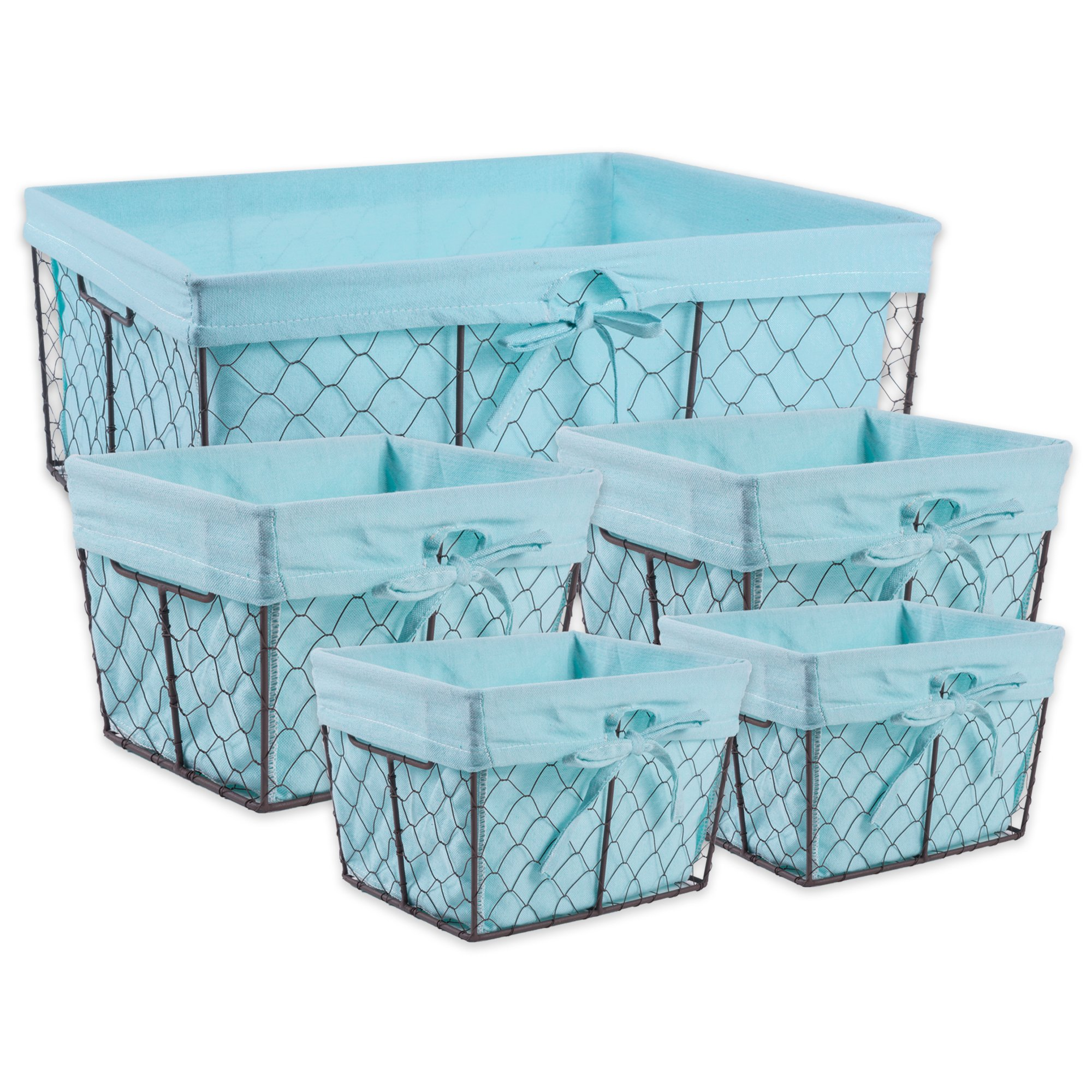 DII Vintage Chicken Wire Baskets for Storage Removable Fabric Liner, Assorted Set of 5, Aqua 5 Piece