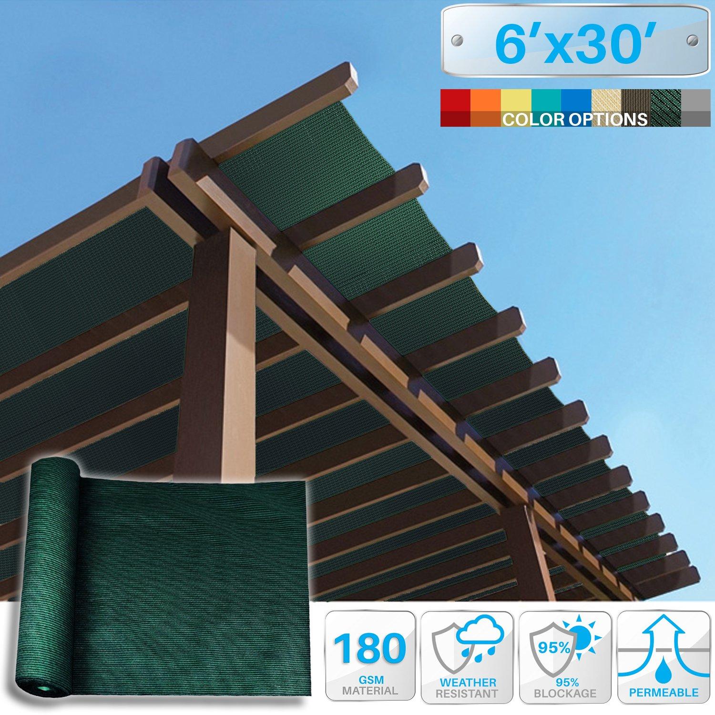 Patio Paradise 6' x 30' Sunblock Shade Cloth Roll,Dark Green Sun Shade Fabric 95% UV Resistant Mesh Netting Cover for Outdoor,Backyard,Garden,Plant,Greenhouse,Barn