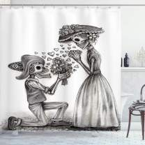 """Ambesonne Day of The Dead Shower Curtain, Mariage Proposal Till Life Do Us Apart Dead Day Art Print, Cloth Fabric Bathroom Decor Set with Hooks, 75"""" Long, Charcoal White"""