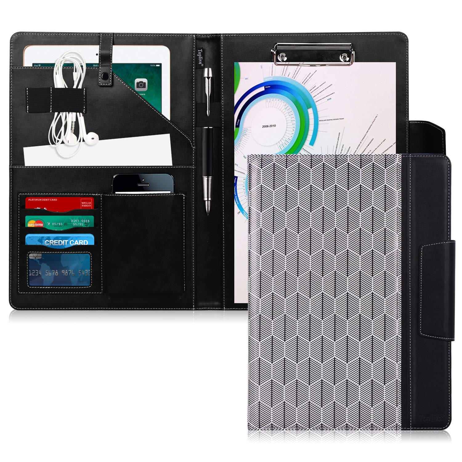 Toplive Portfolio Case Padfolio, Executive Business Document Organizer with Letter Size Clipboard, Business Card Holder, Tablet Sleeve, Perfect for Business School Office Conference, Tree-Black