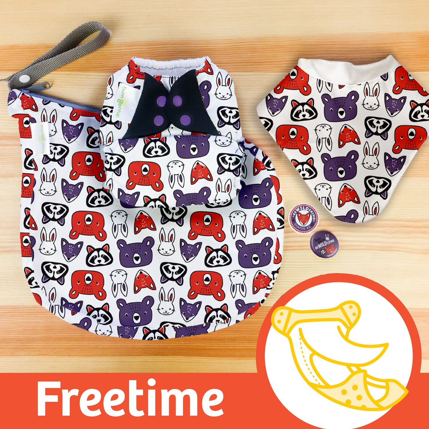 Doodles Collection: bumGenius Freetime All-in-One One-Size Snap Closure Cloth Diaper (beWILDering)