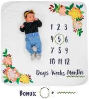 Growing Gifts Baby Milestone Blanket and Newborn Photo Prop (Large) Soft, Warm Fleece | Daily, Weekly, and Monthly Growth Tracker | Cute Photography for Boys, Girls