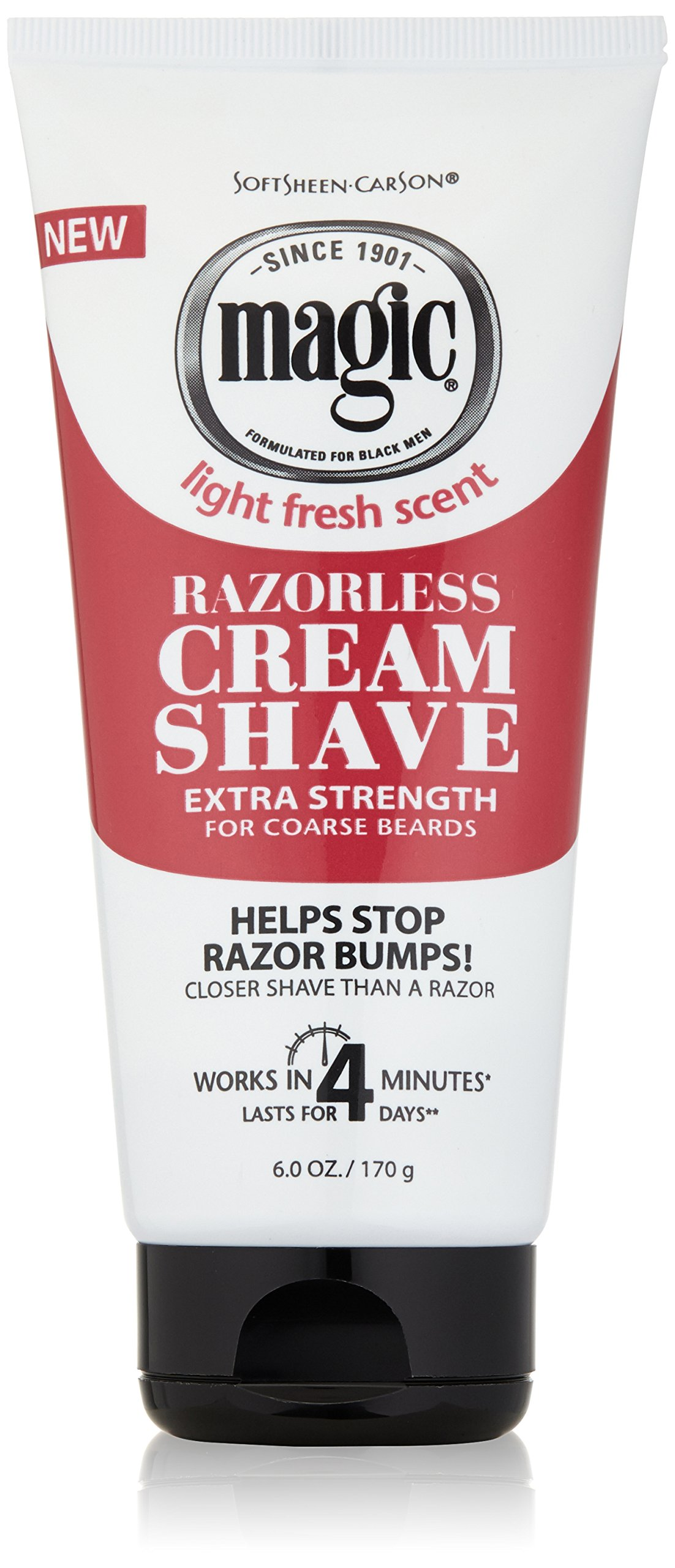 Razorless Shaving Cream for Men by SoftSheen-Carson Magic, Hair Removal Cream, Extra Strength for Coarse Beards, No Razor Needed, Depilatory cream works in 4 Minutes for Coarse Curly Hair, 6 oz