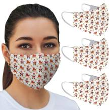 OJOS Face Cloth Mask Washable - Soft Breathable Cotton and Comfortable Design, Reusable Cover with 3 Layer Protection, Cute Fashion Style Men, Women and Youth Masks for Office and Outdoors (3-Pack)