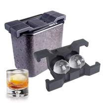 Bizz Crystal Clear Ice Maker, Plastic Silicone Ice Molds, Rigid, BPA Free, Reusable, Creates Clear, Easy to Freeze and Remove Ice, 2-Cavity System, Whiskey, Bourbon, Cocktail Drink Use (Sphere)