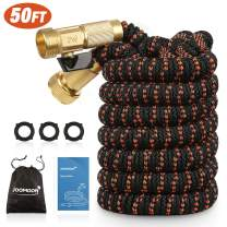 Panda Grip 50ft Garden Hose,Expandable and Flexible Water Hose,Strongest 9 Latex Core with 3/4 Solid Brass Fittings,Heavy Duty Fabric for Watering Garden,Cleaning(No Nozzle,Orange)