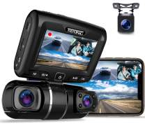 """REXING S1 Dash Cam 3-Channel Front,Rear,Cabin 1080P + 720p +720p, 2"""" LCD, Infrared Night Vision, Parking Monitor, Mobile APP, WiFi, 170°Angle Lens, Loop Recording, Supercapacitor, Support up to 256GB"""