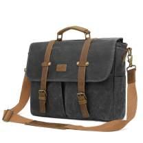Srotek Messenger Bag 15.6 Inch Waxed Canvas Briefcase Water-Resistant Laptop Bag Business Satchel Shoulder Bag for Men-Black