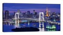 LightFairy Glow in The Dark Canvas Painting - Stretched and Framed Giclee Wall Art Print - City Urban Decor Tokyo - Master Bedroom Living Room Decor - 6 Hours Glow - 46 x 24 inch