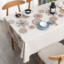 LEEVAN Vinyl Tablecloth Heavy Weight PVC Rectangle Table Cover 100% Waterproof Oil-Proof Stain-Resistant Table Cloth for Indoor and Outdoor Use -54 x 78 Inch, Mandala Pattern