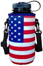 Koverz XL 32-40oz 1200ml Water Bottle Carrier with Shoulder Strap, Water Bottle Holder - Vintage American Flag