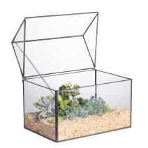 NCYP Glass Geometric Terrarium Container Tabletop Large Close House Shape Box Planter for Succulent Plant Moss Fern with Swing Lid Black Decor 8.6 x 7.25 x 6 inches, No Plants Included
