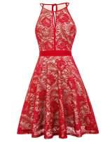 Women's Stretchy A Line Swing Flared Skater Dress Size S,Red KK638-7