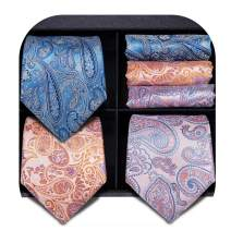 3/5 Pcs Mens Tie Set, Hi-Tie Mens Silk Tie Pocket Square and Cufflinks Set