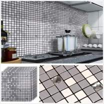 "HomeyMosaic Peel and Stick Tile Backsplash for Kitchen Bathroom Wall Decor Aluminum Surface Metal Mosaic Tiles Silver Glass Mixed(12""x12"",5 Sheets,HSMS1-181)"