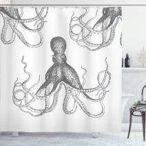 """Ambesonne Octopus Shower Curtain, Ocean Inspired Sketch Art of an Animal with Long Tentacles Marine Life Undersea, Cloth Fabric Bathroom Decor Set with Hooks, 70"""" Long, White Grey"""